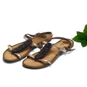 Gios Eppo beaded metallic strappy sandal Sz 9.5/40